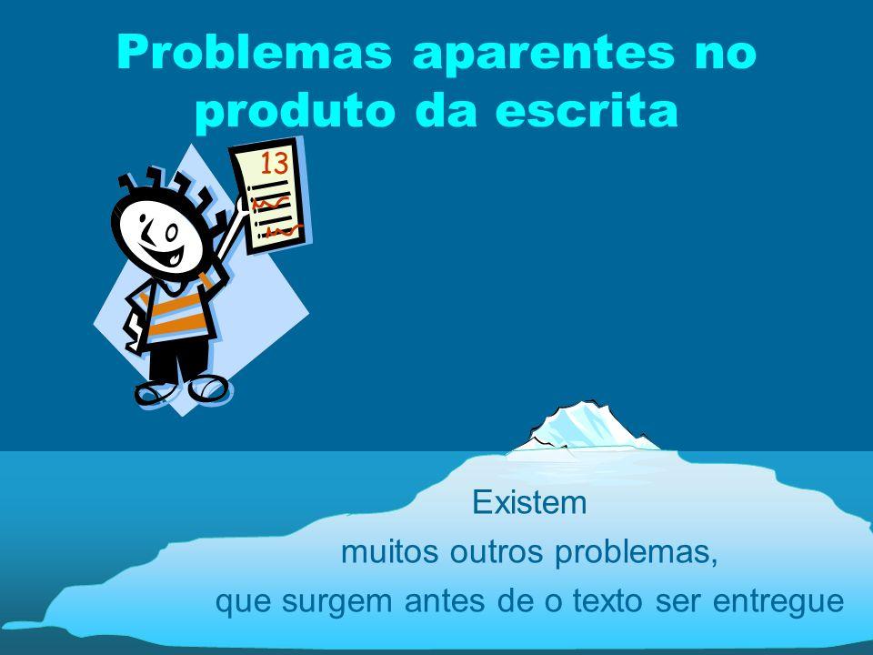 Problemas aparentes no produto da escrita Existem muitos outros problemas, que surgem antes de o texto ser entregue 13