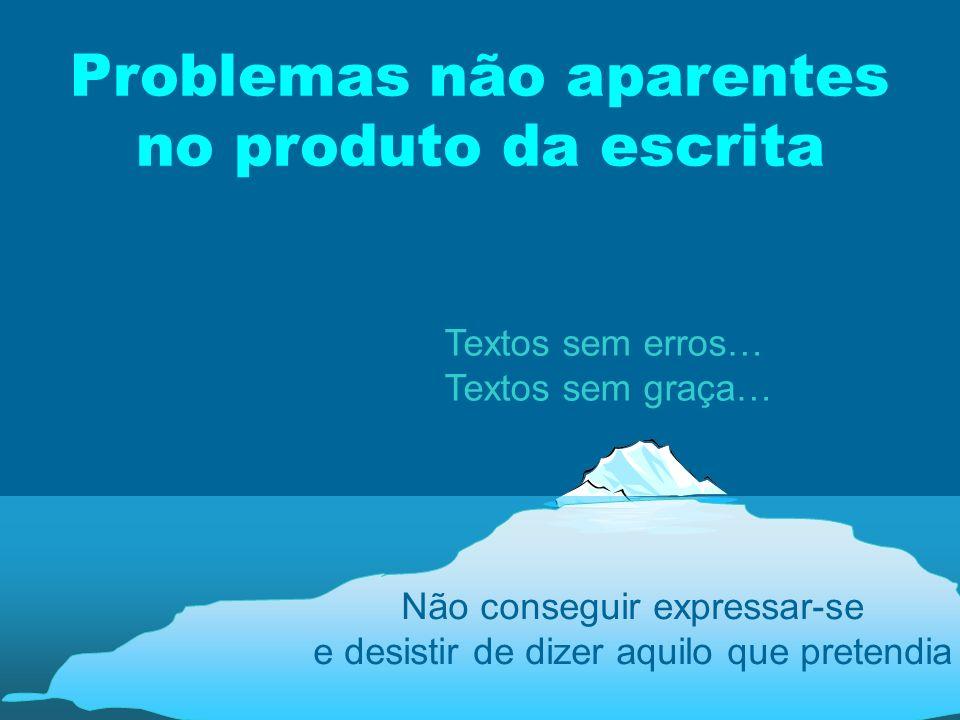 Problemas não aparentes no produto da escrita Não conseguir expressar-se e desistir de dizer aquilo que pretendia Textos sem erros… Textos sem graça…