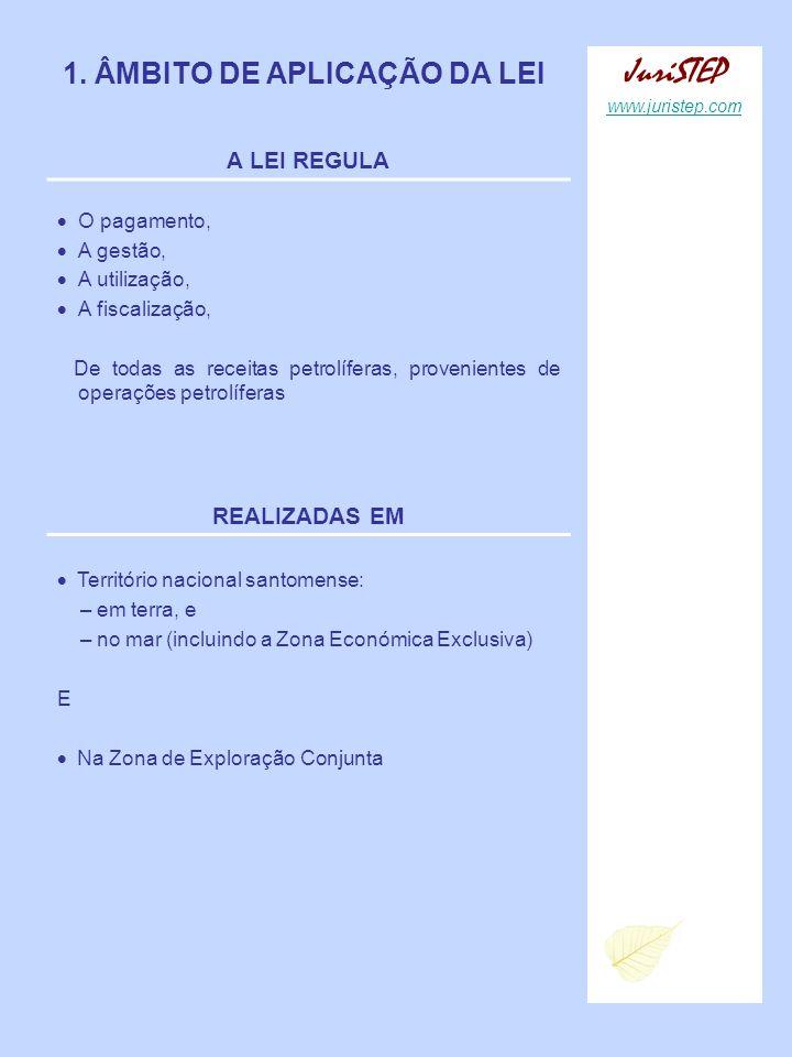 1. ÂMBITO DE APLICAÇÃO DA LEI A LEI REGULA O pagamento, A gestão, A utilização, A fiscalização, De todas as receitas petrolíferas, provenientes de ope