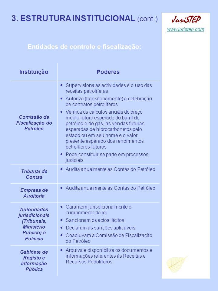 3. ESTRUTURA INSTITUCIONAL (cont.) Entidades de controlo e fiscalização: InstituiçãoPoderes Comissão de Fiscalização do Petróleo Supervisiona as activ