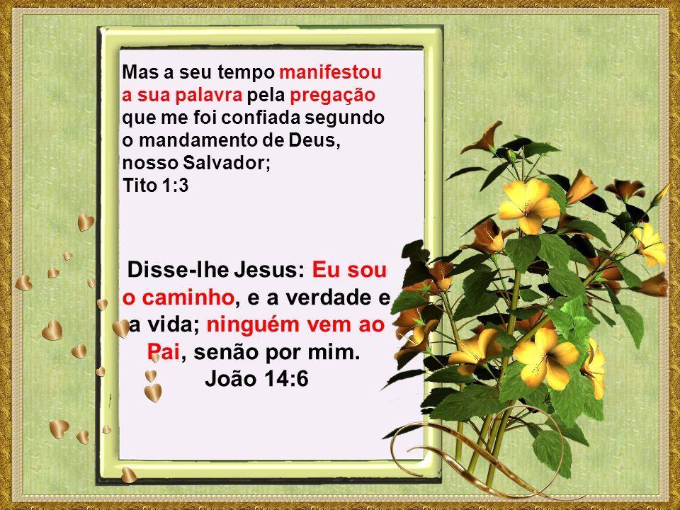 Mas a seu tempo manifestou a sua palavra pela pregação que me foi confiada segundo o mandamento de Deus, nosso Salvador; Tito 1:3 Disse-lhe Jesus: Eu sou o caminho, e a verdade e a vida; ninguém vem ao Pai, senão por mim.