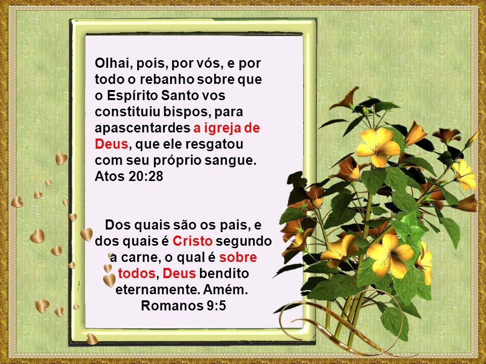 Olhai, pois, por vós, e por todo o rebanho sobre que o Espírito Santo vos constituiu bispos, para apascentardes a igreja de Deus, que ele resgatou com seu próprio sangue.