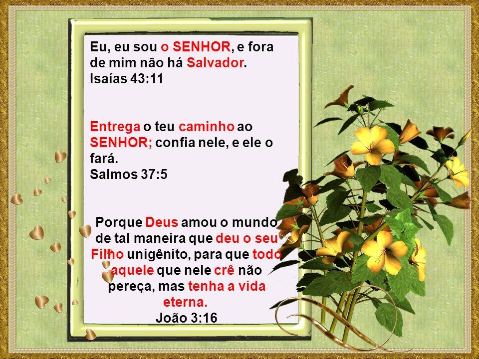 Eu, eu sou o SENHOR, e fora de mim não há Salvador. Isaías 43:11 Entrega o teu caminho ao SENHOR; confia nele, e ele o fará. Salmos 37:5 Porque Deus a
