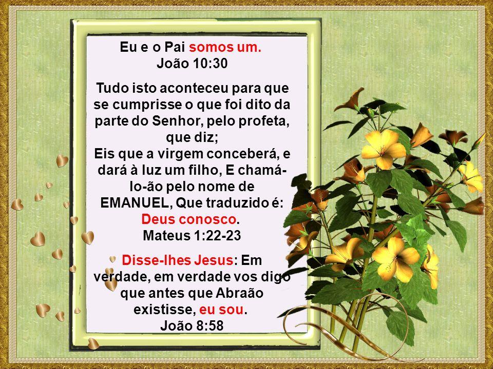 Eu e o Pai somos um. João 10:30 Tudo isto aconteceu para que se cumprisse o que foi dito da parte do Senhor, pelo profeta, que diz; Eis que a virgem c
