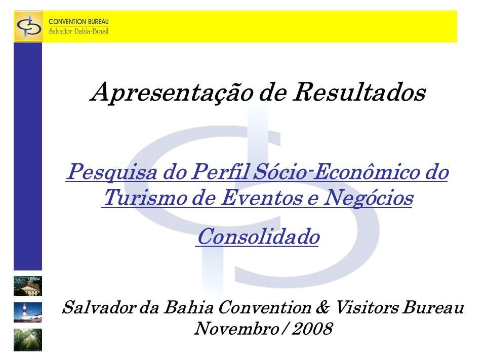 Salvador da Bahia Convention & Visitors Bureau Novembro / 2008 Apresentação de Resultados Pesquisa do Perfil Sócio-Econômico do Turismo de Eventos e Negócios Consolidado