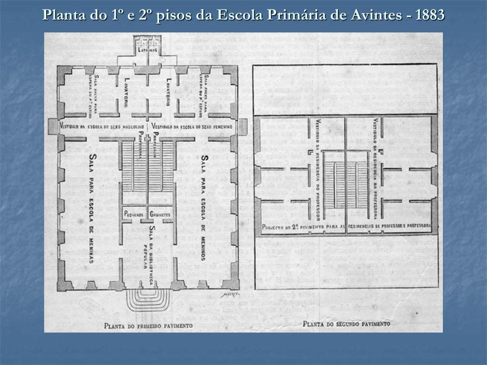 Planta do 1º e 2º pisos da Escola Primária de Avintes - 1883