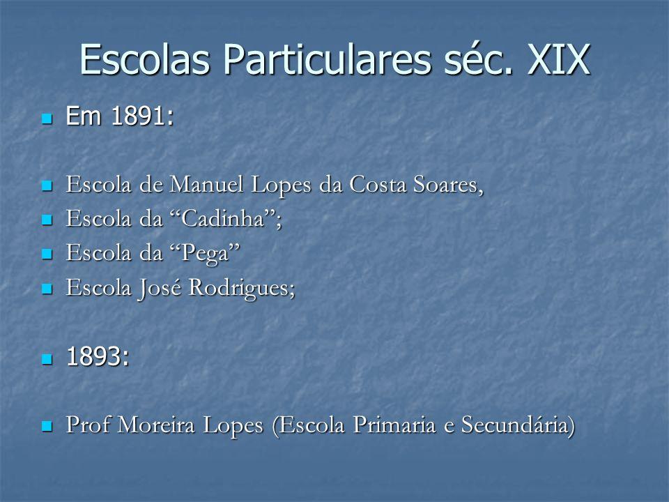 Escolas Particulares séc. XIX Em 1891: Em 1891: Escola de Manuel Lopes da Costa Soares, Escola de Manuel Lopes da Costa Soares, Escola da Cadinha; Esc