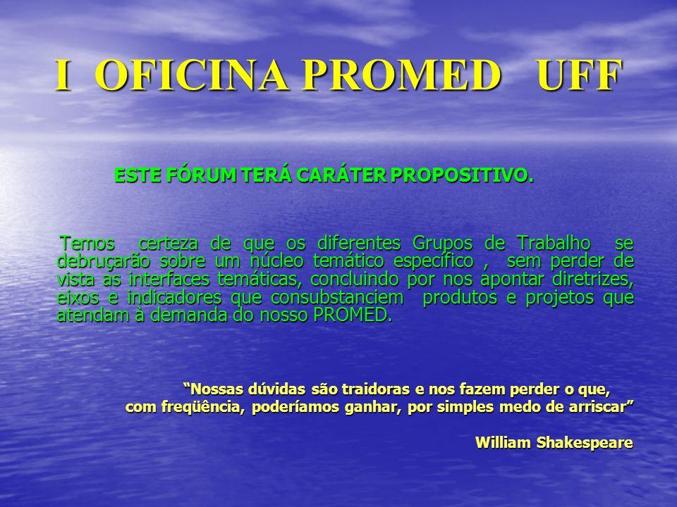 I OFICINA PROMED UFF ESTE FÓRUM TERÁ CARÁTER PROPOSITIVO.
