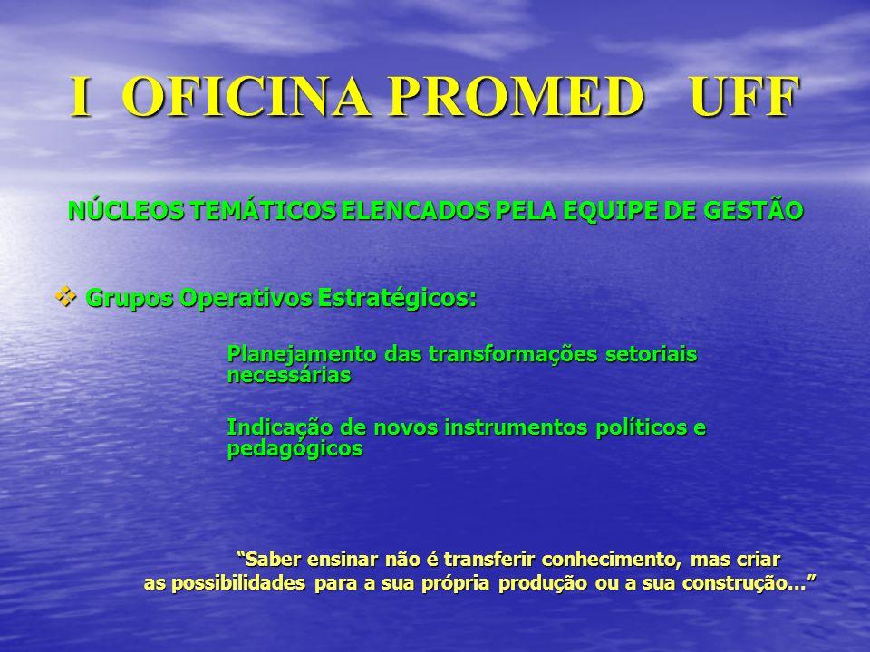 I OFICINA PROMED UFF NÚCLEOS TEMÁTICOS ELENCADOS PELA EQUIPE DE GESTÃO Grupos Operativos Estratégicos: Grupos Operativos Estratégicos: Planejamento da