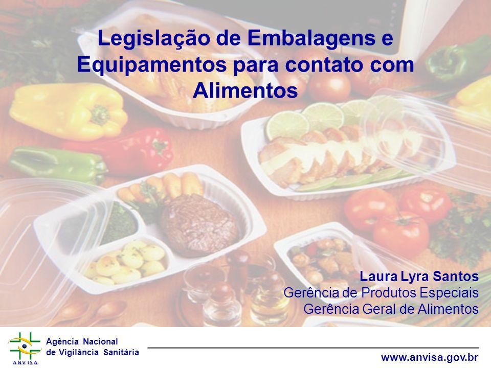 Agência Nacional de Vigilância Sanitária www.anvisa.gov.br Legislação de Embalagens e Equipamentos para contato com Alimentos Laura Lyra Santos Gerênc