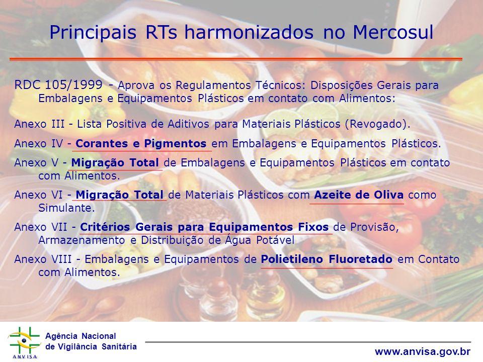 Agência Nacional de Vigilância Sanitária www.anvisa.gov.br Principais RTs harmonizados no Mercosul RDC 105/1999 - Aprova os Regulamentos Técnicos: Dis
