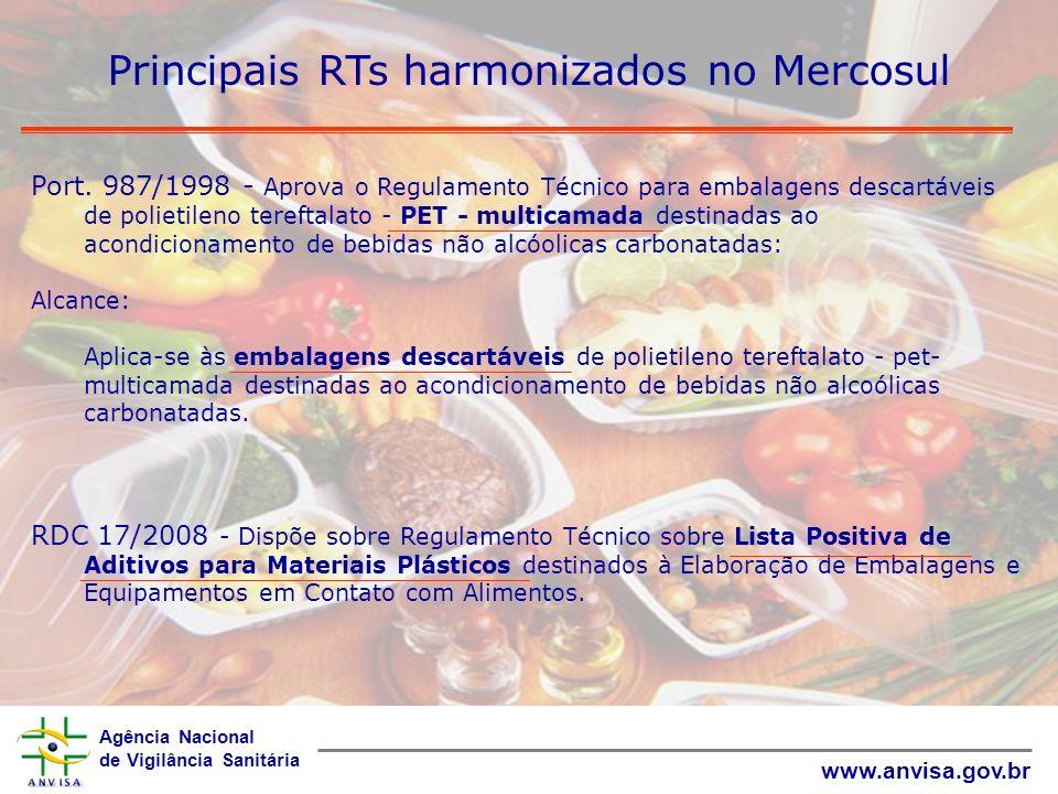 Agência Nacional de Vigilância Sanitária www.anvisa.gov.br Principais RTs harmonizados no Mercosul Port. 987/1998 - Aprova o Regulamento Técnico para