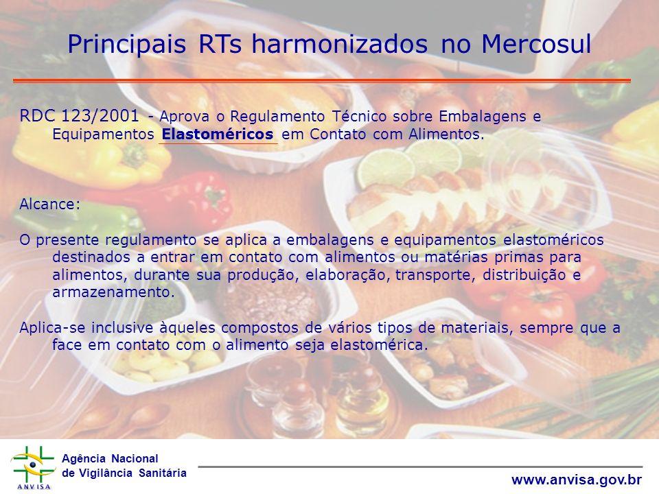 Agência Nacional de Vigilância Sanitária www.anvisa.gov.br Principais RTs harmonizados no Mercosul RDC 123/2001 - Aprova o Regulamento Técnico sobre E