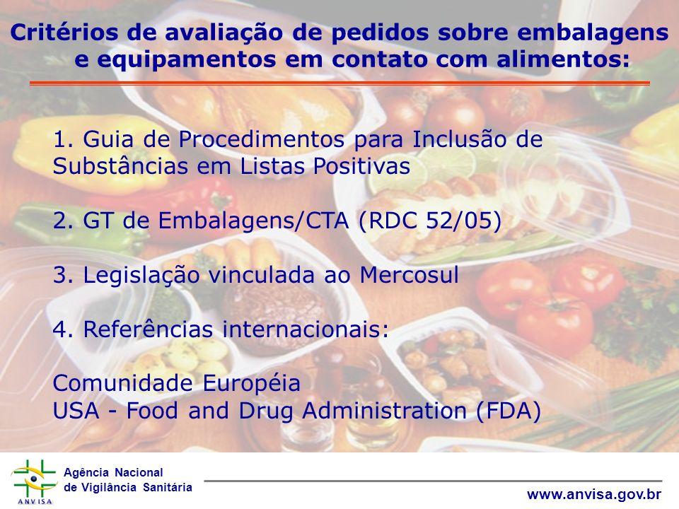 Agência Nacional de Vigilância Sanitária www.anvisa.gov.br Principais RTs harmonizados no Mercosul RDC 123/2001 - Aprova o Regulamento Técnico sobre Embalagens e Equipamentos Elastoméricos em Contato com Alimentos.