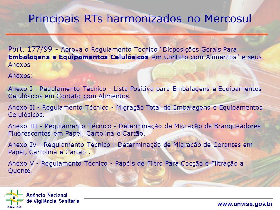 Agência Nacional de Vigilância Sanitária www.anvisa.gov.br Principais RTs harmonizados no Mercosul Port. 177/99 - Aprova o Regulamento Técnico