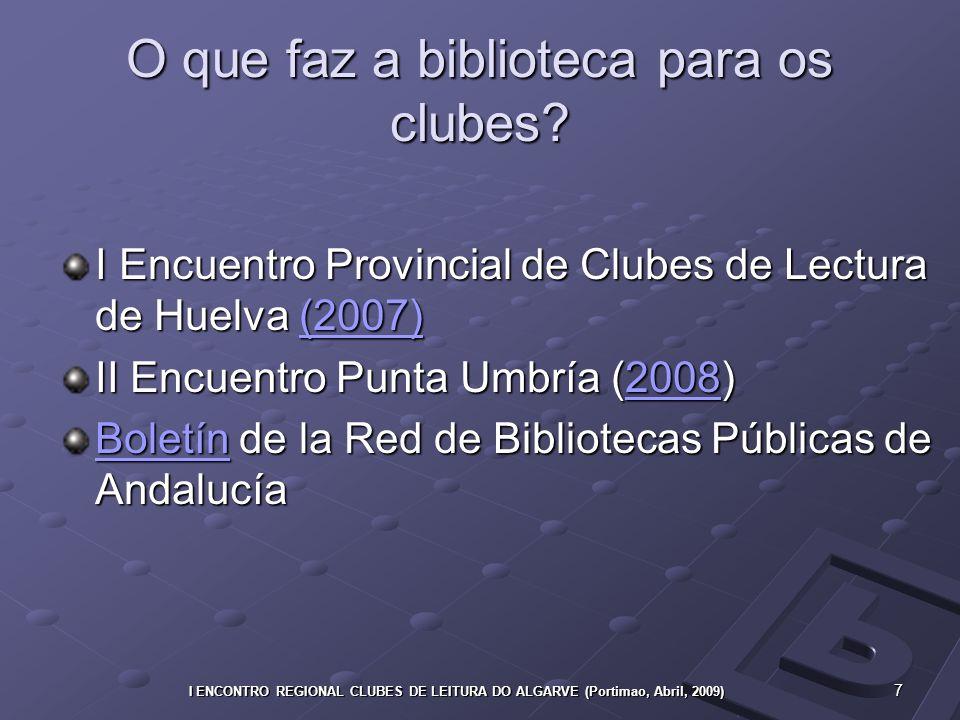 7 I ENCONTRO REGIONAL CLUBES DE LEITURA DO ALGARVE (Portimao, Abril, 2009) O que faz a biblioteca para os clubes.