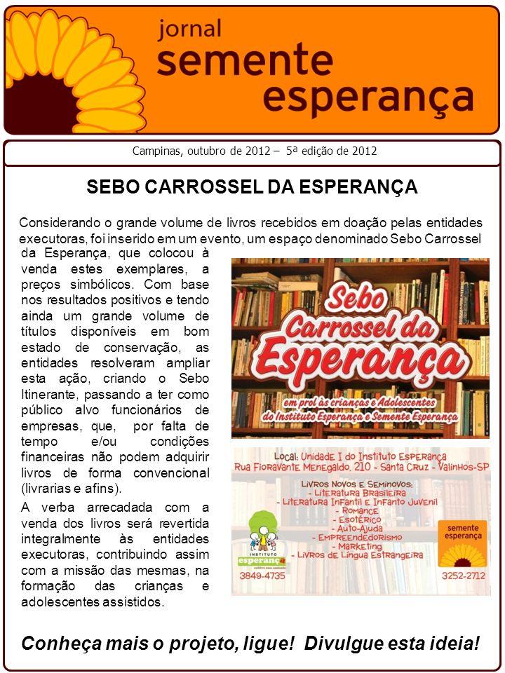 Campinas, outubro de 2012 – 5ª edição de 2012 SEBO CARROSSEL DA ESPERANÇA Considerando o grande volume de livros recebidos em doação pelas entidades e