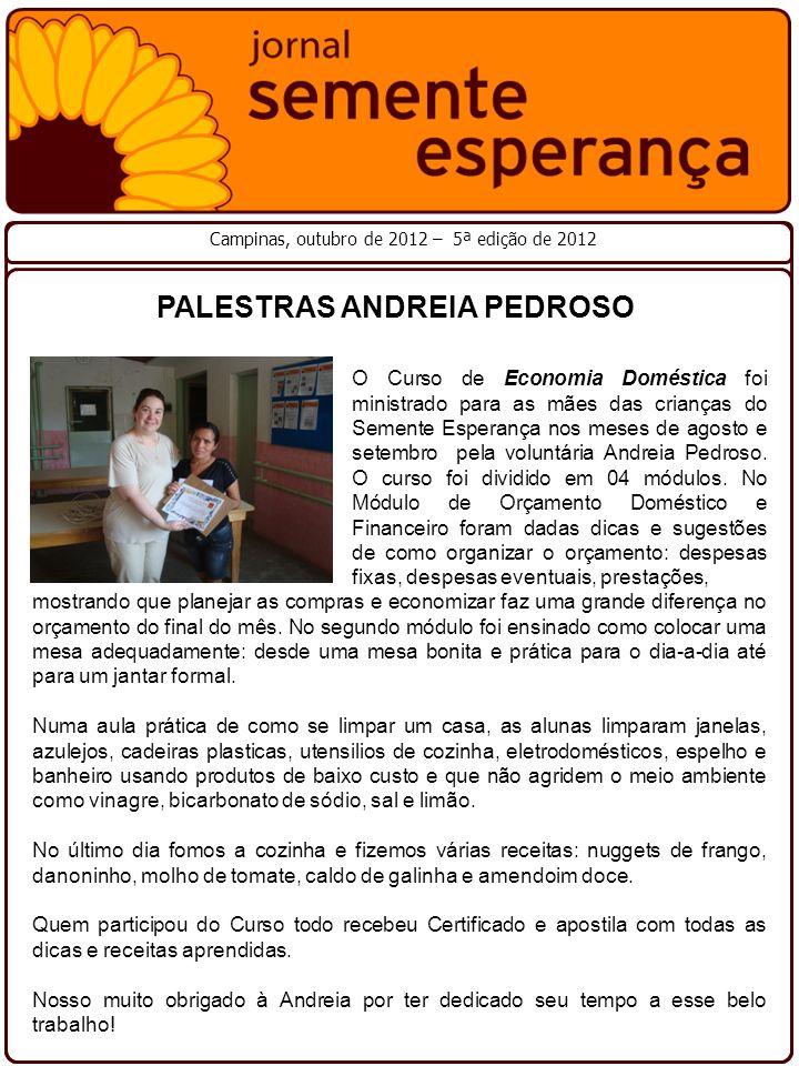 PALESTRAS ANDREIA PEDROSO Campinas, outubro de 2012 – 5ª edição de 2012 O Curso de Economia Doméstica foi ministrado para as mães das crianças do Seme