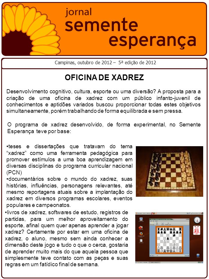 Campinas, outubro de 2012 – 5ª edição de 2012 Desenvolvimento cognitivo, cultura, esporte ou uma diversão? A proposta para a criação de uma oficina de