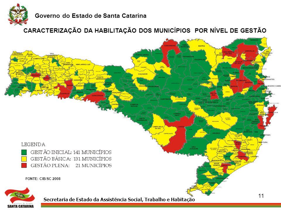 Secretaria de Estado da Assistência Social, Trabalho e Habitação Governo do Estado de Santa Catarina 11 CARACTERIZAÇÃO DA HABILITAÇÃO DOS MUNICÍPIOS P