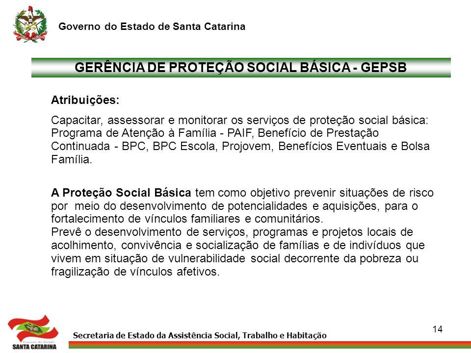 Secretaria de Estado da Assistência Social, Trabalho e Habitação Governo do Estado de Santa Catarina 14 GERÊNCIA DE PROTEÇÃO SOCIAL BÁSICA - GEPSB Atr