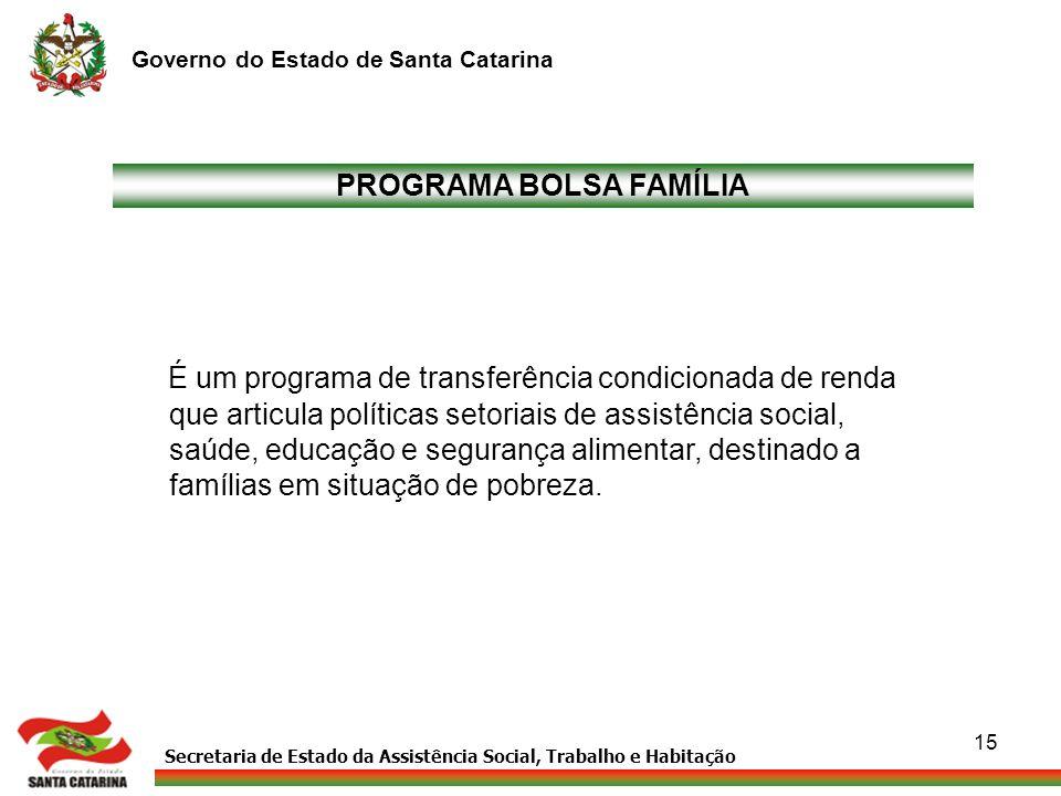 Secretaria de Estado da Assistência Social, Trabalho e Habitação Governo do Estado de Santa Catarina 15 PROGRAMA BOLSA FAMÍLIA É um programa de transf