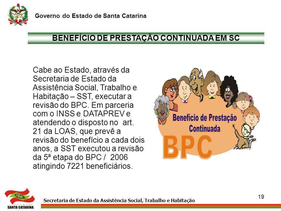 Secretaria de Estado da Assistência Social, Trabalho e Habitação Governo do Estado de Santa Catarina 19 BENEFÍCIO DE PRESTAÇÃO CONTINUADA EM SC Cabe a