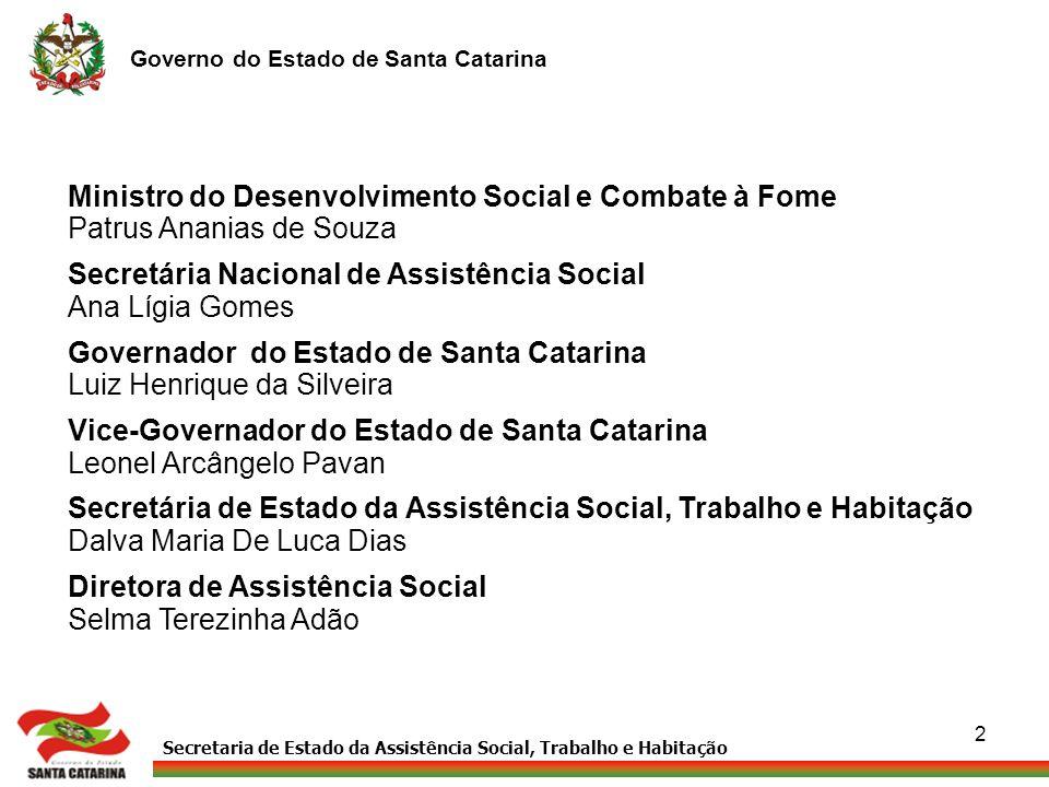 Secretaria de Estado da Assistência Social, Trabalho e Habitação Governo do Estado de Santa Catarina 2 Ministro do Desenvolvimento Social e Combate à