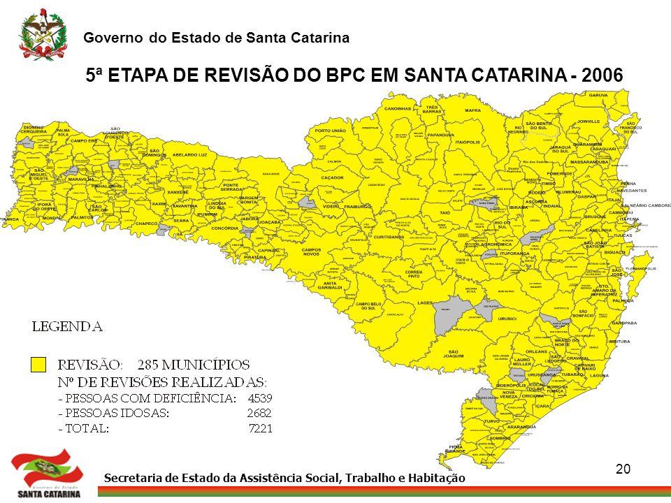 Secretaria de Estado da Assistência Social, Trabalho e Habitação Governo do Estado de Santa Catarina 20 5ª ETAPA DE REVISÃO DO BPC EM SANTA CATARINA -