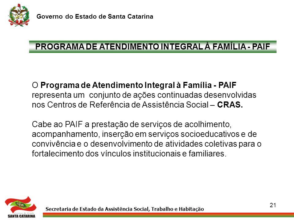 Secretaria de Estado da Assistência Social, Trabalho e Habitação Governo do Estado de Santa Catarina 21 PROGRAMA DE ATENDIMENTO INTEGRAL À FAMÍLIA - P