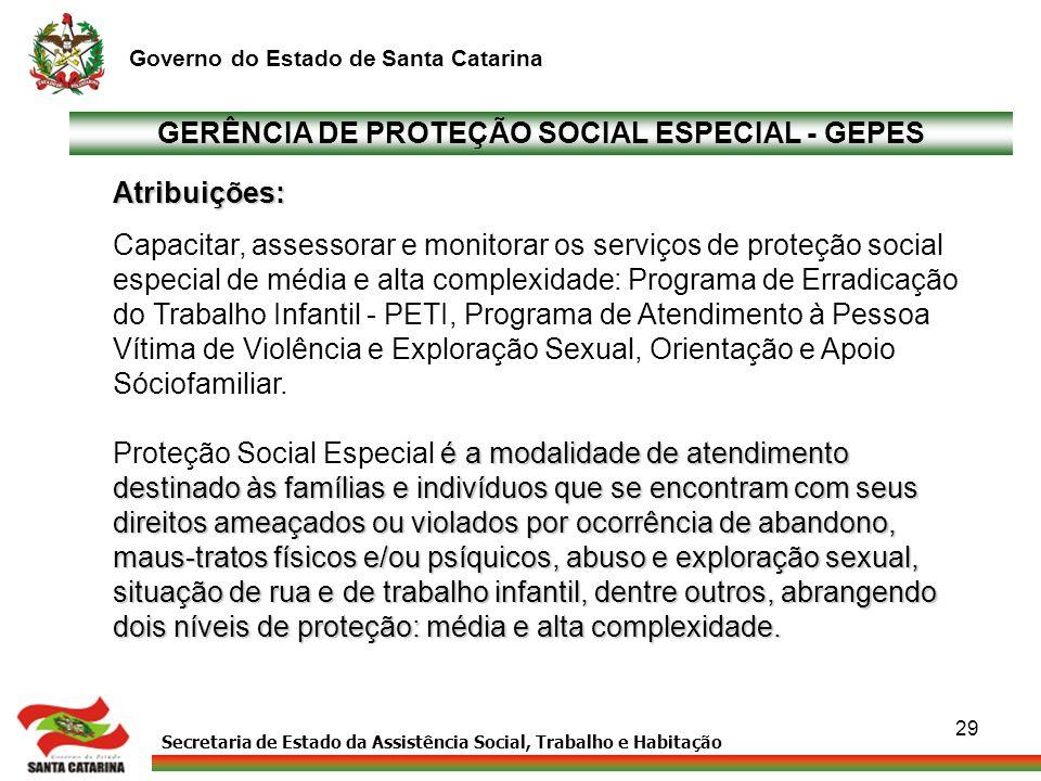 Secretaria de Estado da Assistência Social, Trabalho e Habitação Governo do Estado de Santa Catarina 29 GERÊNCIA DE PROTEÇÃO SOCIAL ESPECIAL - GEPES A