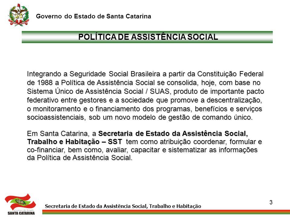 Secretaria de Estado da Assistência Social, Trabalho e Habitação Governo do Estado de Santa Catarina 3 POLÍTICA DE ASSISTÊNCIA SOCIAL Integrando a Seg