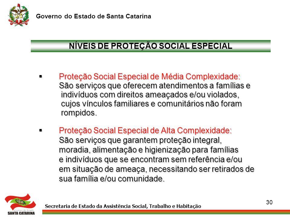 Secretaria de Estado da Assistência Social, Trabalho e Habitação Governo do Estado de Santa Catarina 30 NÍVEIS DE PROTEÇÃO SOCIAL ESPECIAL Proteção So