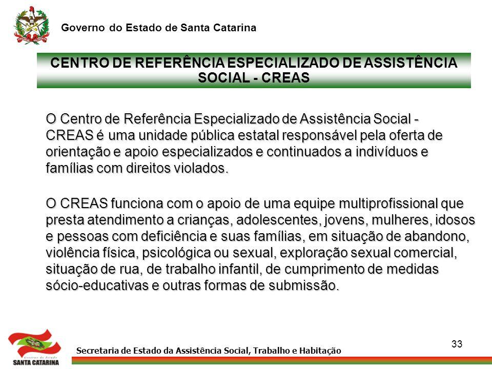 Secretaria de Estado da Assistência Social, Trabalho e Habitação Governo do Estado de Santa Catarina 33 CENTRO DE REFERÊNCIA ESPECIALIZADO DE ASSISTÊN