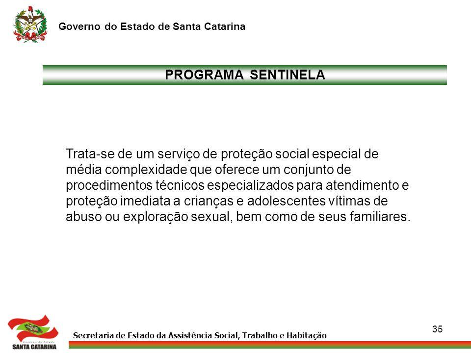 Secretaria de Estado da Assistência Social, Trabalho e Habitação Governo do Estado de Santa Catarina 35 PROGRAMA SENTINELA Trata-se de um serviço de p