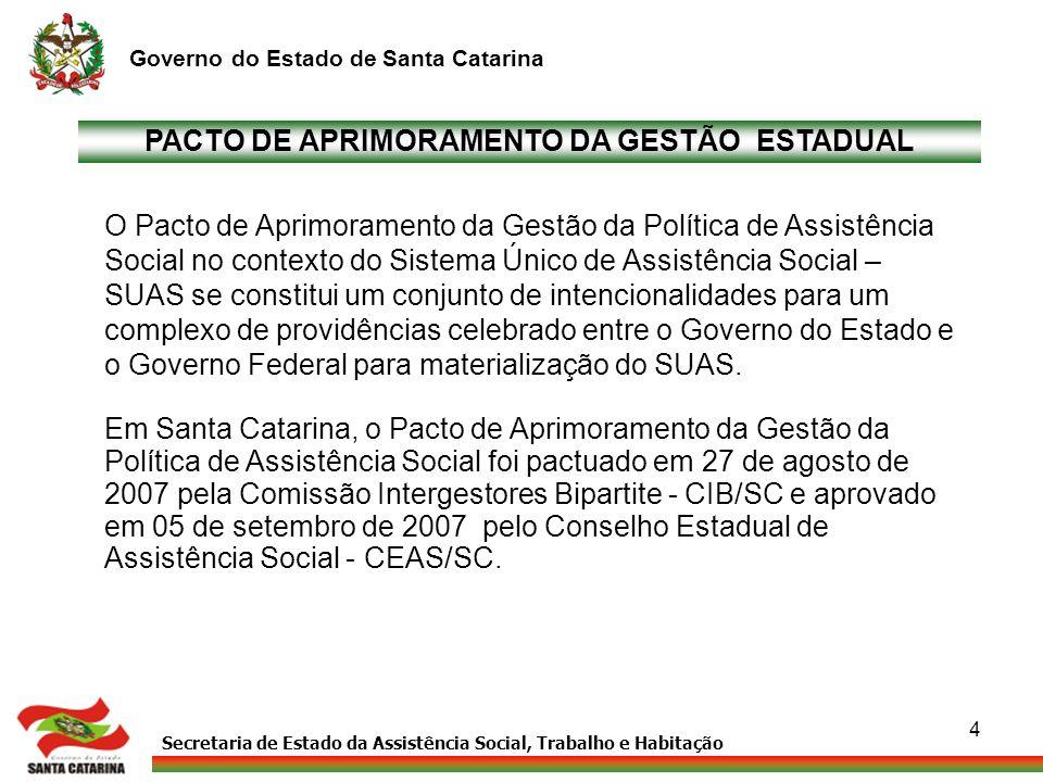 Secretaria de Estado da Assistência Social, Trabalho e Habitação Governo do Estado de Santa Catarina 5 MARCOS REGULATÓRIOS Fundamentação Jurídica: - Lei Orgânica de Assistência Social - LOAS (Lei nº 8.742 de 07/12/93) - Política Nacional de Assistência Social - PNAS (Novembro de 2004) - Norma Operacional Básica – NOB/SUAS (14 julho de 2005) - NOB de Recursos Humanos - NOB-RH/SUAS (25 janeiro de 2007) - Lei de criação do CEAS/SC ( Lei nº 10.037 de 26 dezembro de 1995) - Lei que institui o Fundo Estadual de Assistência Social - FEAS/SC (Lei nº 143 de 26/dezembro de1995) nº 143 de 26/dezembro de1995) Leis que mantêm interface com a Política de Assistência Social: - Lei nº 8.069/90 (13/07/90) - Estatuto da Criança e Adolescente - Lei nº 10.741 (01/10/03) - Estatuto do Idoso - Lei nº 7.853 (24/10/89) e Decreto nº 914 (06/07/93) - Apoio à Pessoa com Deficiência Deficiência - Lei nº 11.340 – Lei Maria da Penha (07/08/2006) - Lei nº 11.346 – Lei de Segurança Alimentar e Nutricional (15/07/2006)