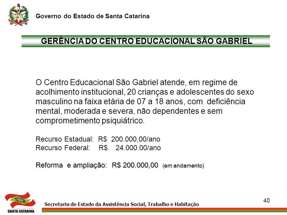 Secretaria de Estado da Assistência Social, Trabalho e Habitação Governo do Estado de Santa Catarina 40 GERÊNCIA DO CENTRO EDUCACIONAL SÃO GABRIEL O C