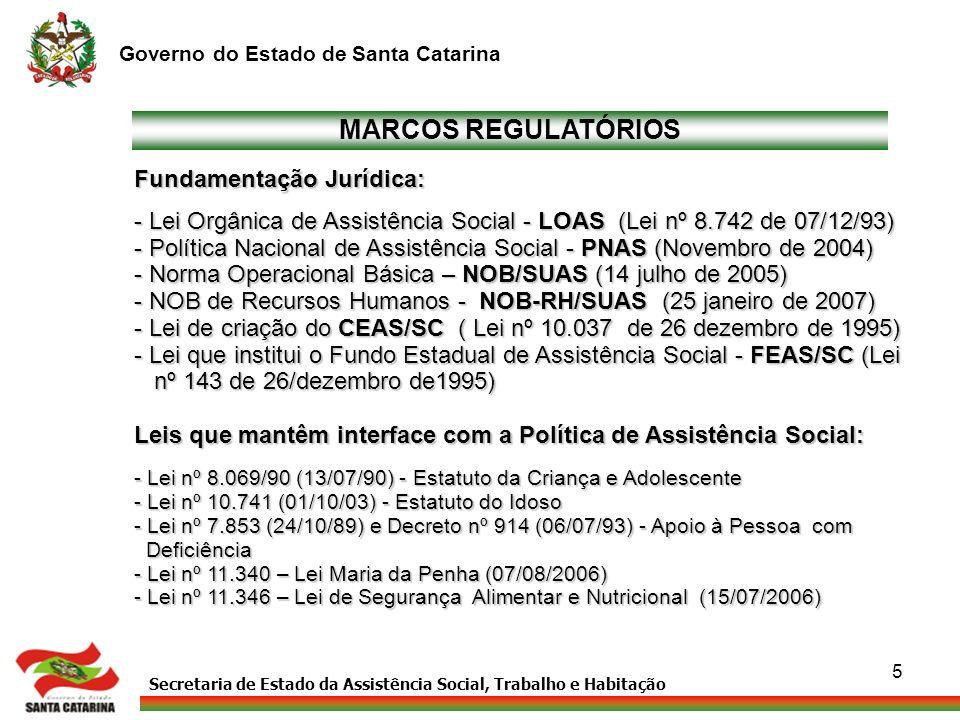 Secretaria de Estado da Assistência Social, Trabalho e Habitação Governo do Estado de Santa Catarina 5 MARCOS REGULATÓRIOS Fundamentação Jurídica: - L