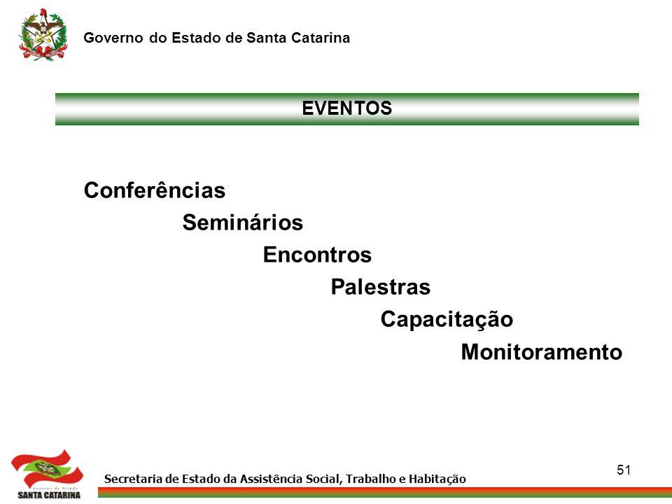 Secretaria de Estado da Assistência Social, Trabalho e Habitação Governo do Estado de Santa Catarina 51 Conferências Seminários Encontros Palestras Ca
