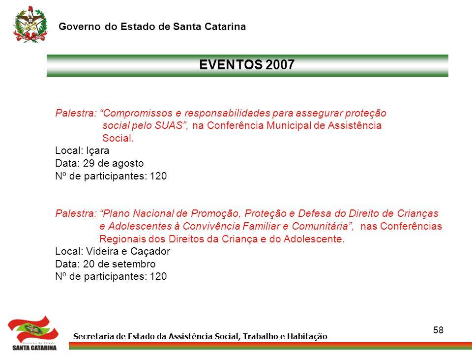 Secretaria de Estado da Assistência Social, Trabalho e Habitação Governo do Estado de Santa Catarina 58 Palestra: Compromissos e responsabilidades par