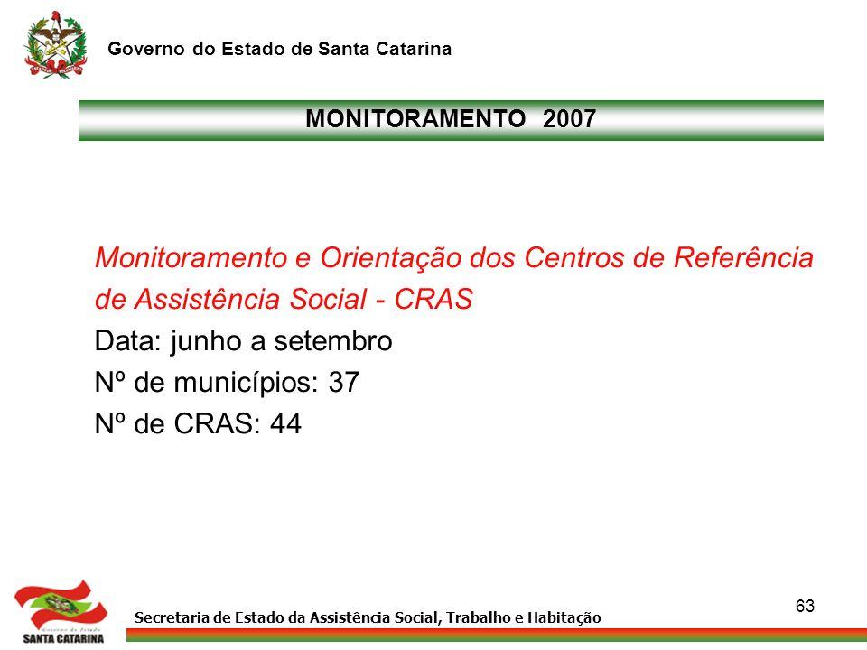 Secretaria de Estado da Assistência Social, Trabalho e Habitação Governo do Estado de Santa Catarina 63 MONITORAMENTO 2007 Monitoramento e Orientação