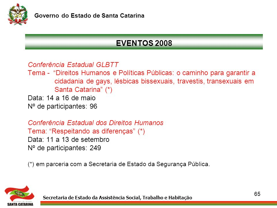 Secretaria de Estado da Assistência Social, Trabalho e Habitação Governo do Estado de Santa Catarina 65 EVENTOS 2008 Conferência Estadual GLBTT Tema -