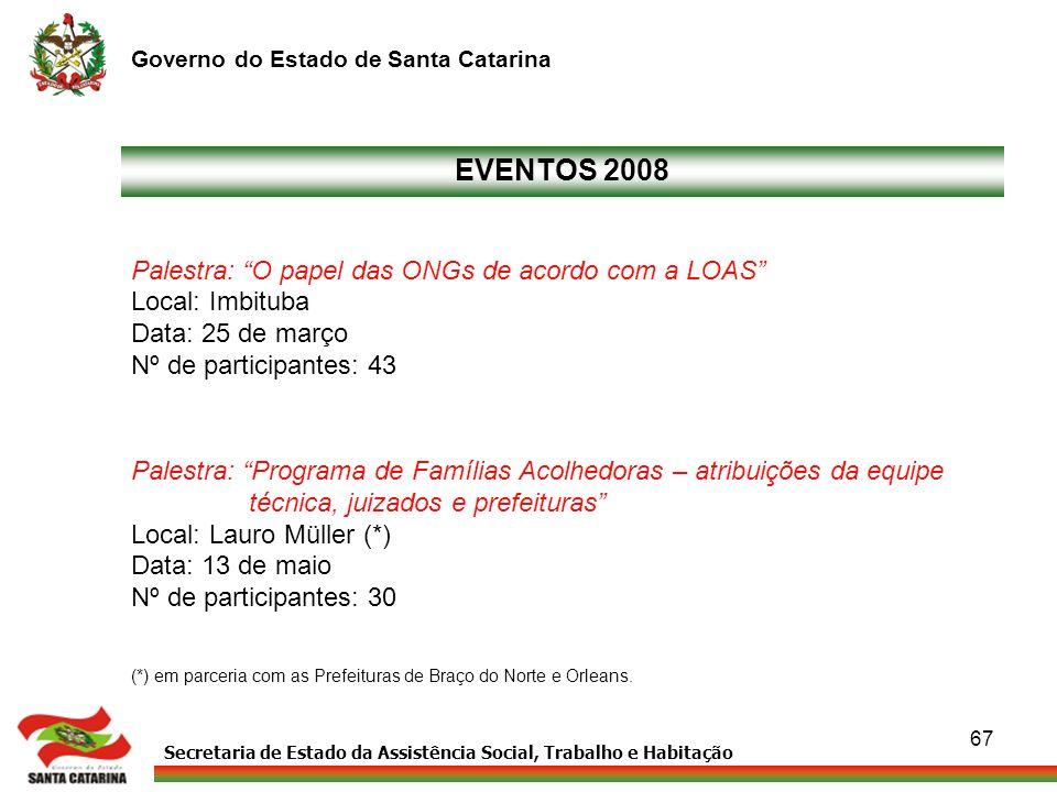 Secretaria de Estado da Assistência Social, Trabalho e Habitação Governo do Estado de Santa Catarina 67 Palestra: O papel das ONGs de acordo com a LOA