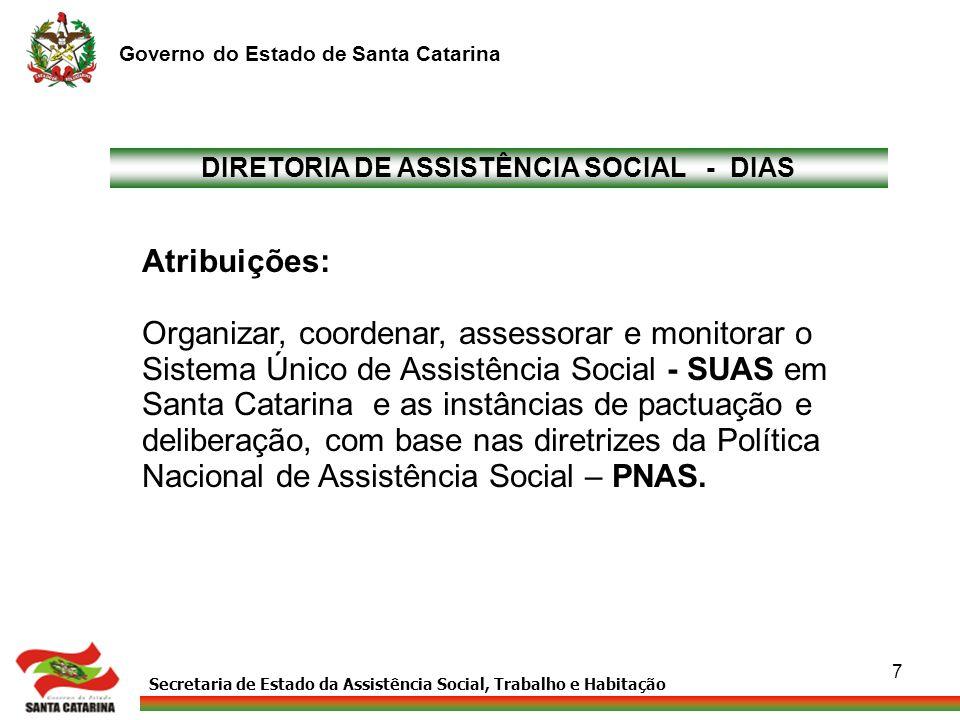Secretaria de Estado da Assistência Social, Trabalho e Habitação Governo do Estado de Santa Catarina 7 DIRETORIA DE ASSISTÊNCIA SOCIAL - DIAS Atribuiç