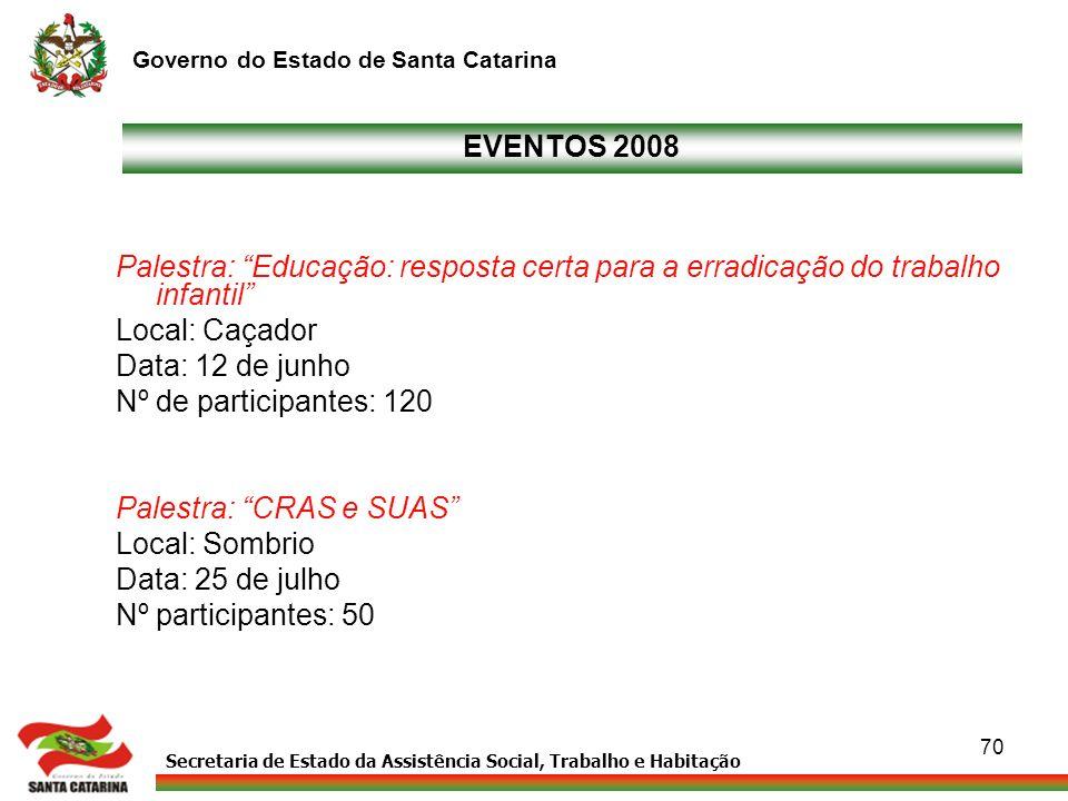Secretaria de Estado da Assistência Social, Trabalho e Habitação Governo do Estado de Santa Catarina 70 EVENTOS 2008 Palestra: Educação: resposta cert