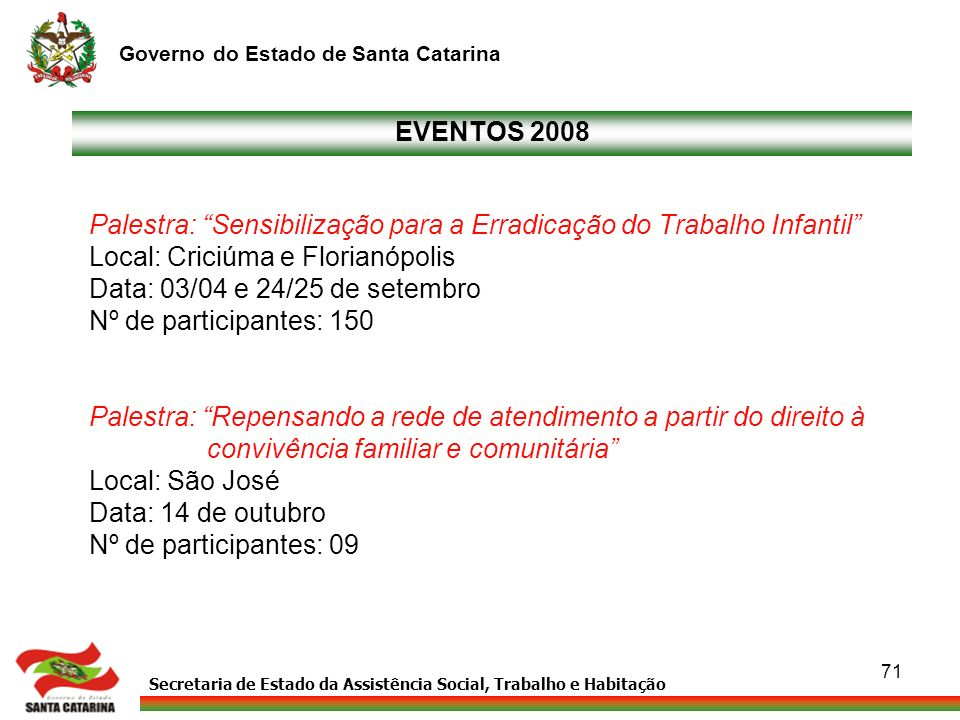 Secretaria de Estado da Assistência Social, Trabalho e Habitação Governo do Estado de Santa Catarina 71 EVENTOS 2008 Palestra: Sensibilização para a E