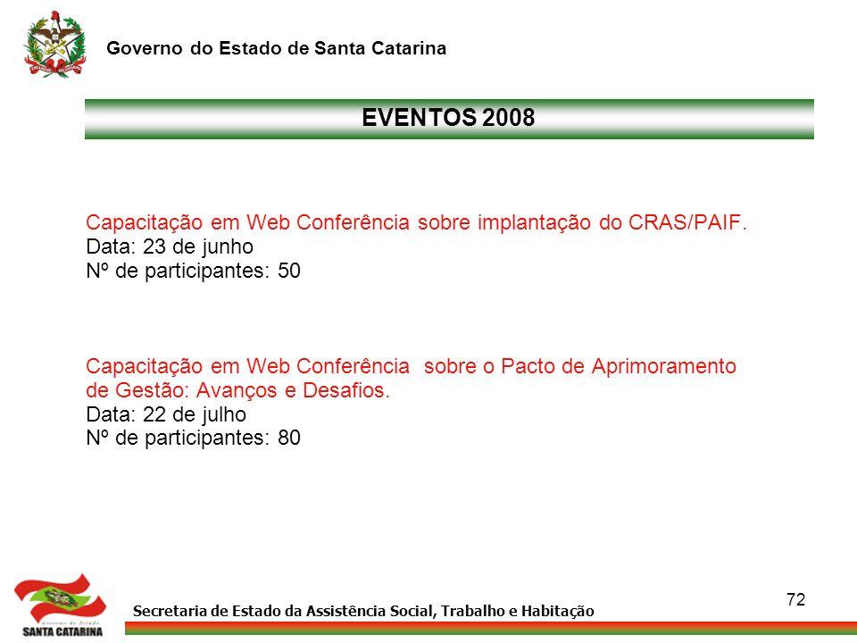 Secretaria de Estado da Assistência Social, Trabalho e Habitação Governo do Estado de Santa Catarina 72 EVENTOS 2008 Capacitação em Web Conferência so