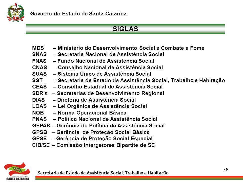 Secretaria de Estado da Assistência Social, Trabalho e Habitação Governo do Estado de Santa Catarina 76 SIGLAS MDS – Ministério do Desenvolvimento Soc