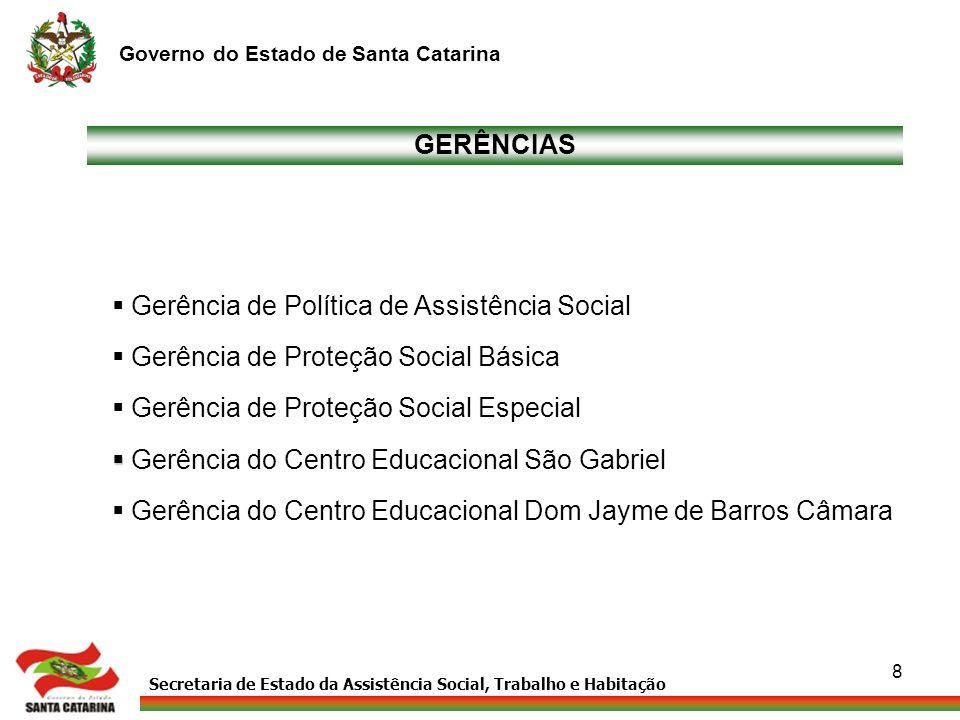 Secretaria de Estado da Assistência Social, Trabalho e Habitação Governo do Estado de Santa Catarina 8 GERÊNCIAS Gerência de Política de Assistência S