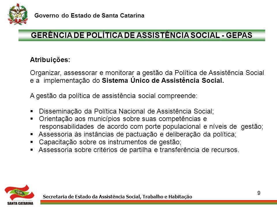 Secretaria de Estado da Assistência Social, Trabalho e Habitação Governo do Estado de Santa Catarina 9 GERÊNCIA DE POLÍTICA DE ASSISTÊNCIA SOCIAL - GE